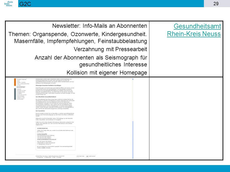 29 Newsletter: Info-Mails an Abonnenten Themen: Organspende, Ozonwerte, Kindergesundheit. Masernfälle, Impfempfehlungen, Feinstaubbelastung Verzahnung