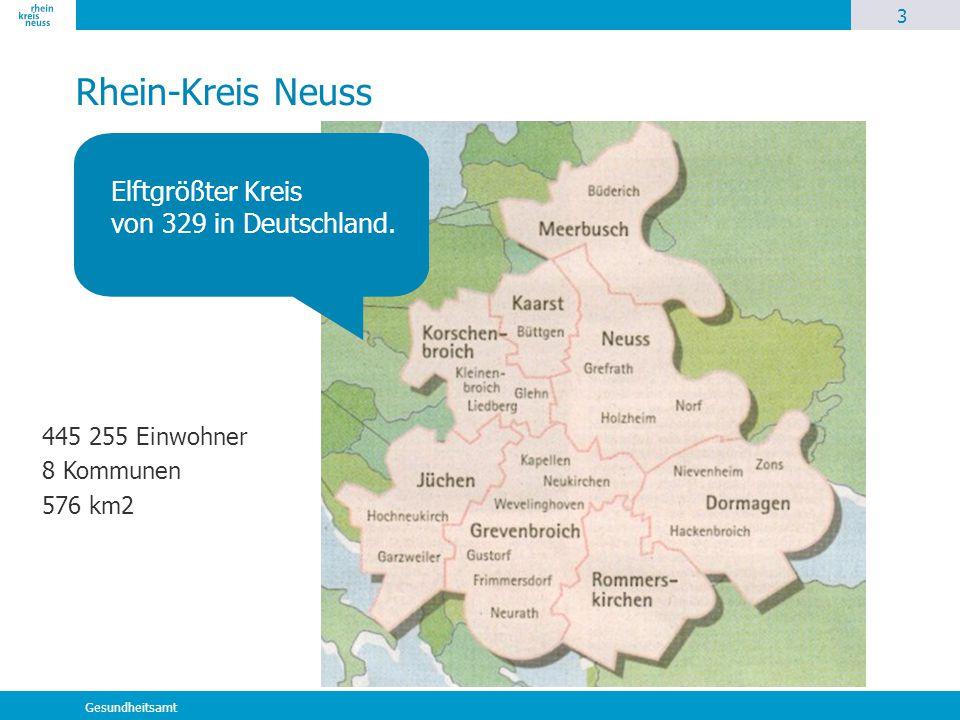 3 Gesundheitsamt Rhein-Kreis Neuss Elftgrößter Kreis von 329 in Deutschland. 445 255 Einwohner 8 Kommunen 576 km2