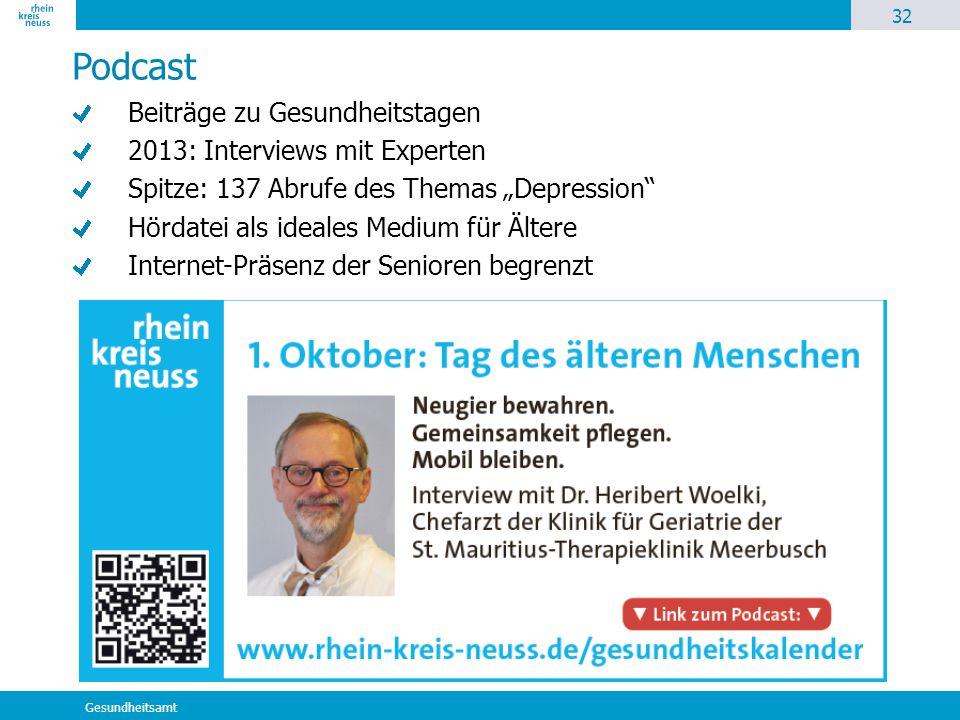 """32 Gesundheitsamt Podcast Beiträge zu Gesundheitstagen 2013: Interviews mit Experten Spitze: 137 Abrufe des Themas """"Depression"""" Hördatei als ideales M"""