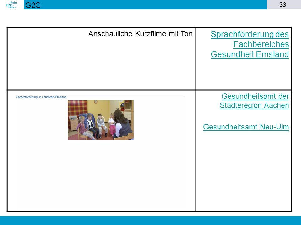 33 Anschauliche Kurzfilme mit Ton Sprachförderung des Fachbereiches Gesundheit Emsland Gesundheitsamt der Städteregion Aachen Gesundheitsamt Neu-Ulm G