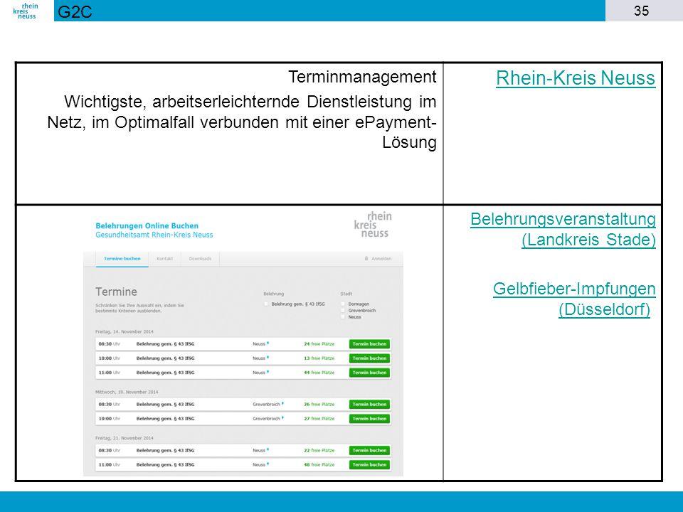 35 Terminmanagement Wichtigste, arbeitserleichternde Dienstleistung im Netz, im Optimalfall verbunden mit einer ePayment- Lösung Rhein-Kreis Neuss Bel