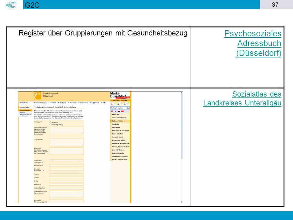 37 Register über Gruppierungen mit Gesundheitsbezug Psychosoziales Adressbuch (Düsseldorf) Sozialatlas des Landkreises Unterallgäu G2C