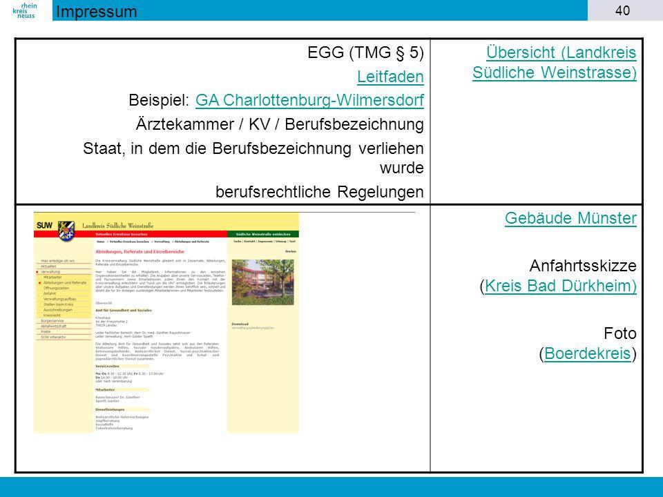 40 EGG (TMG § 5) Leitfaden Beispiel: GA Charlottenburg-WilmersdorfGA Charlottenburg-Wilmersdorf Ärztekammer / KV / Berufsbezeichnung Staat, in dem die