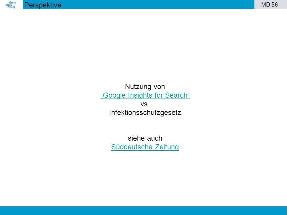 """MD 56 Nutzung von """"Google Insights for Search"""" vs. Infektionsschutzgesetz siehe auch Süddeutsche Zeitung Perspektive"""