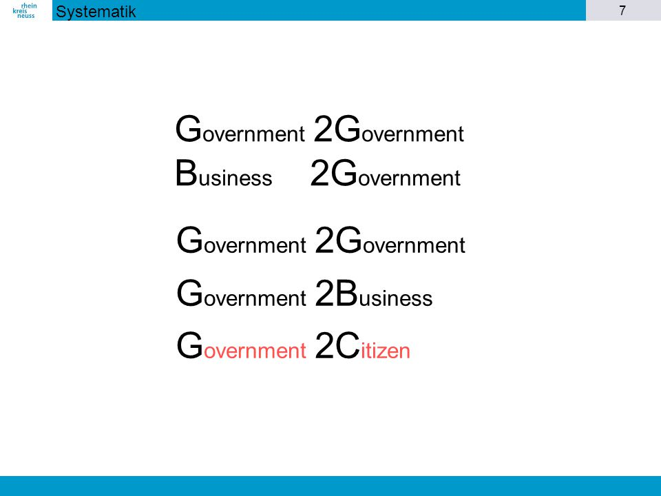 7 G overnment 2G overnment G overnment 2B usiness G overnment 2C itizen G overnment 2G overnment B usiness 2G overnment Systematik