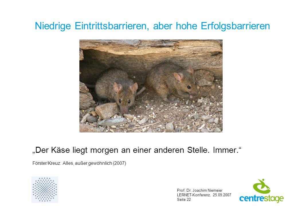 """Prof. Dr. Joachim Niemeier LERNET-Konferenz, 25.09.2007 Seite 22 Niedrige Eintrittsbarrieren, aber hohe Erfolgsbarrieren """"Der Käse liegt morgen an ein"""