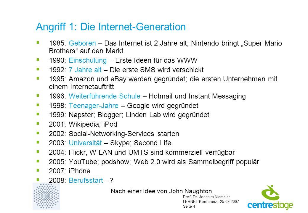 Prof. Dr. Joachim Niemeier LERNET-Konferenz, 25.09.2007 Seite 4 Angriff 1: Die Internet-Generation  1985: Geboren – Das Internet ist 2 Jahre alt; Nin