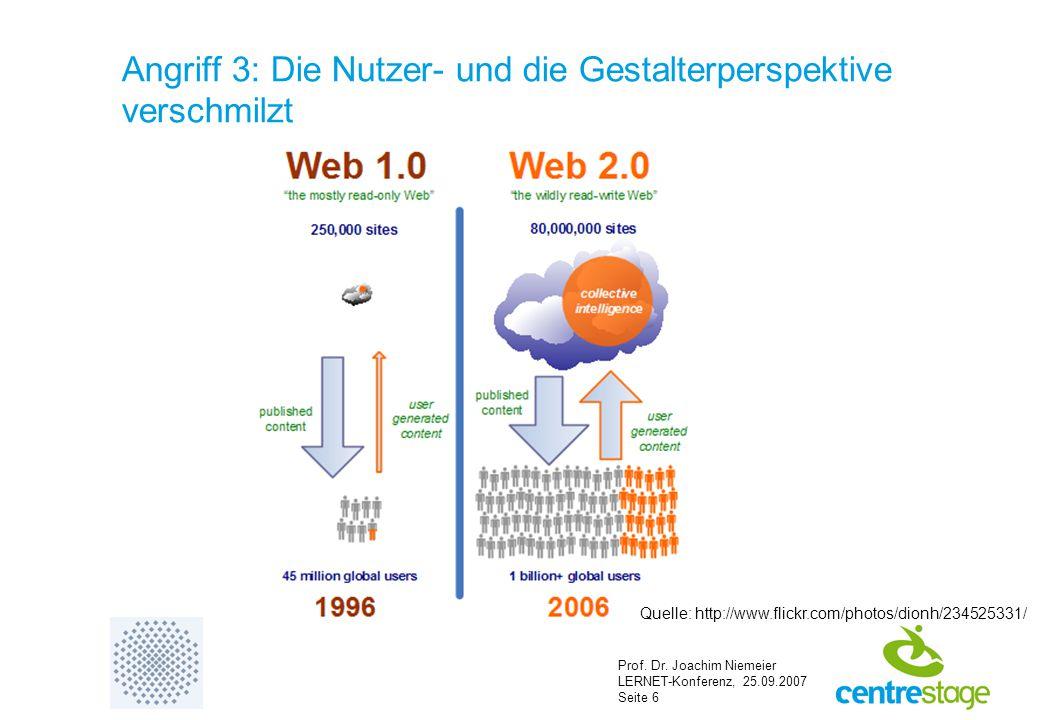 Prof. Dr. Joachim Niemeier LERNET-Konferenz, 25.09.2007 Seite 6 Angriff 3: Die Nutzer- und die Gestalterperspektive verschmilzt Quelle: http://www.fli