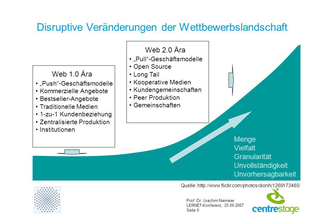 """Prof. Dr. Joachim Niemeier LERNET-Konferenz, 25.09.2007 Seite 9 Disruptive Veränderungen der Wettbewerbslandschaft """"Push""""-Geschäftsmodelle Kommerziell"""