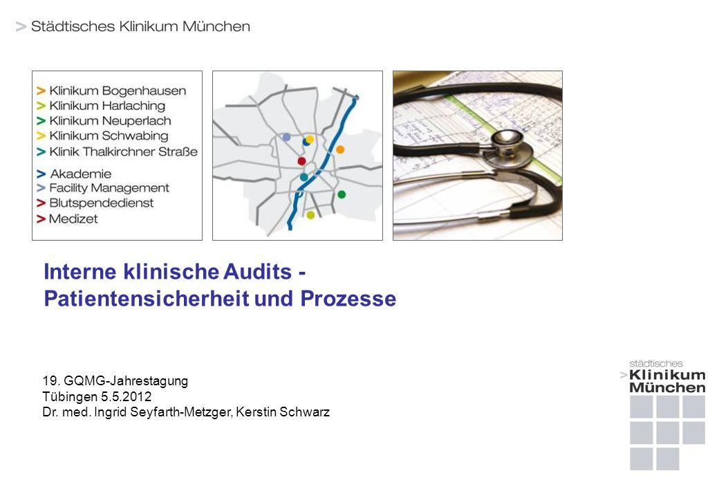 Interne klinische Audits - Patientensicherheit und Prozesse 19. GQMG-Jahrestagung Tübingen 5.5.2012 Dr. med. Ingrid Seyfarth-Metzger, Kerstin Schwarz