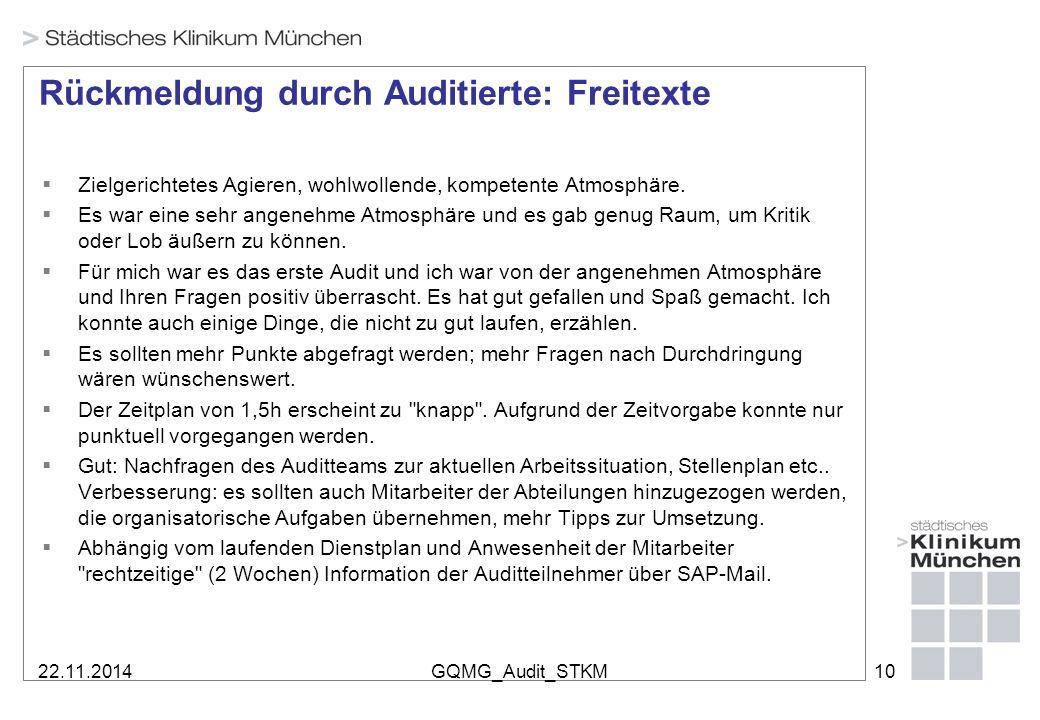 22.11.2014GQMG_Audit_STKM10 Rückmeldung durch Auditierte: Freitexte  Zielgerichtetes Agieren, wohlwollende, kompetente Atmosphäre.  Es war eine sehr