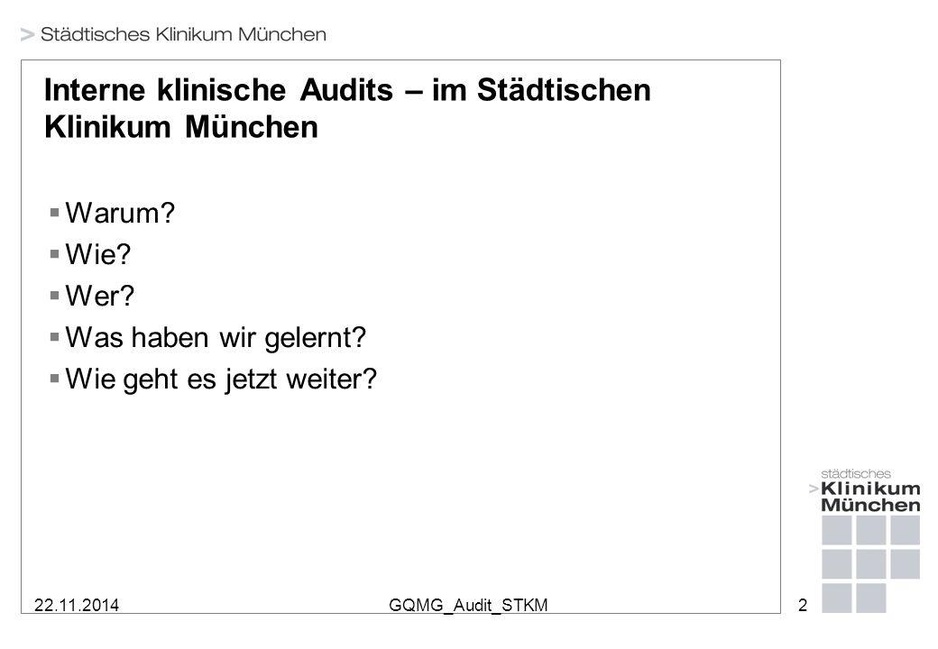 22.11.2014GQMG_Audit_STKM2 Interne klinische Audits – im Städtischen Klinikum München  Warum?  Wie?  Wer?  Was haben wir gelernt?  Wie geht es je