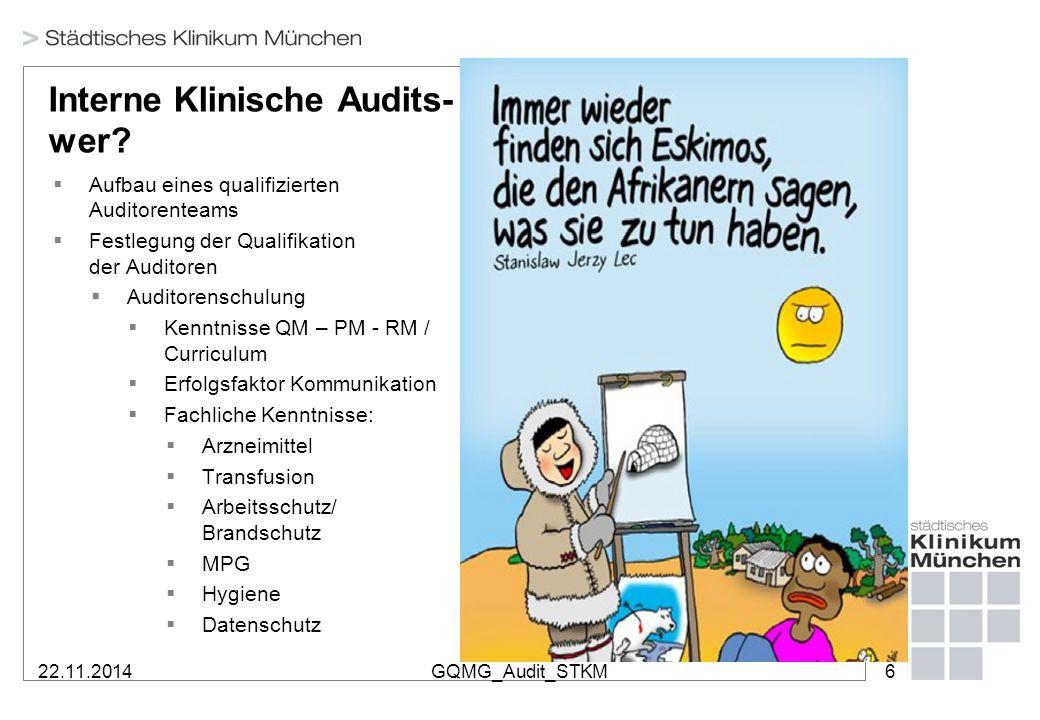 22.11.2014GQMG_Audit_STKM6 Interne Klinische Audits- wer?  Aufbau eines qualifizierten Auditorenteams  Festlegung der Qualifikation der Auditoren 