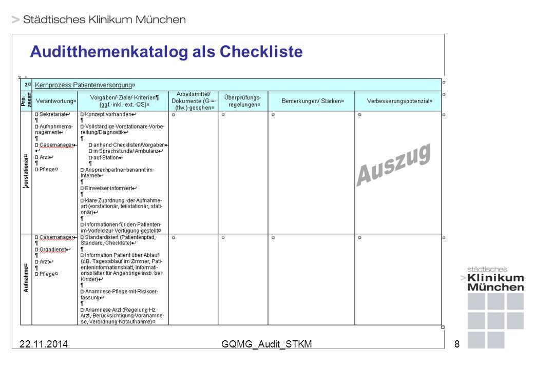 22.11.2014GQMG_Audit_STKM9 Spinnenbewertung durch die Auditierten: 104 Stationen/ Funktionen