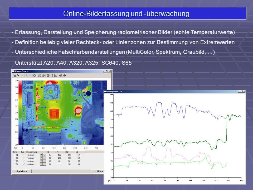 Online-Bilderfassung und -überwachung - Erfassung, Darstellung und Speicherung radiometrischer Bilder (echte Temperaturwerte) - Unterschiedliche Falsc