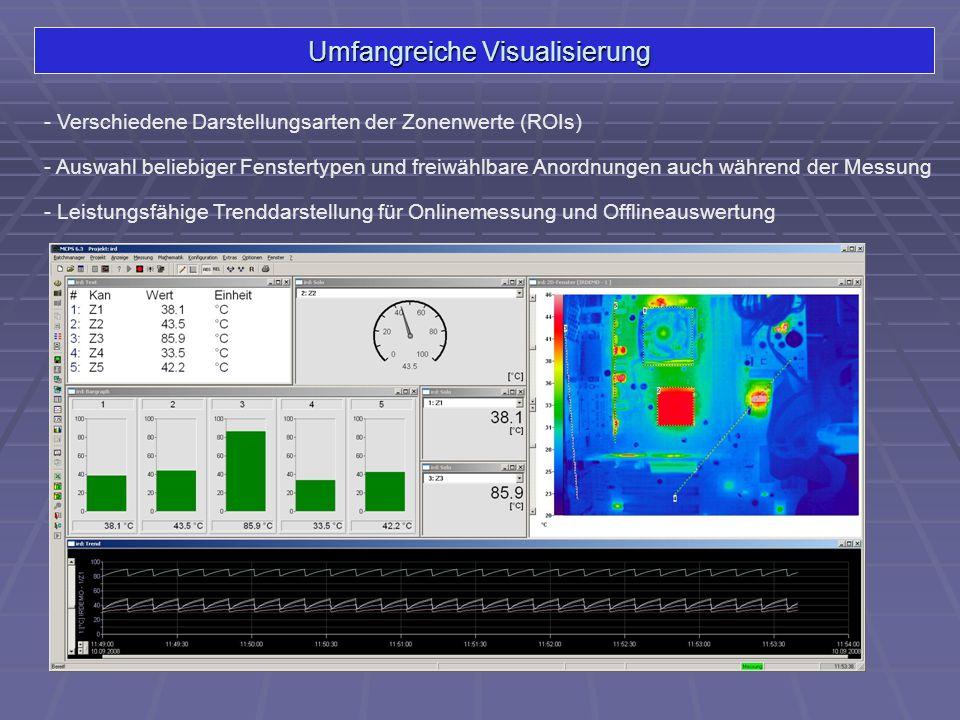 Zusammenfassung verschiedener Datenquellen - Messdaten werden gemeinsam visualisiert und gespeichert - Einfache Analyse von Abhängigkeiten zwischen IR-Daten und Analogdaten IR-Kamera DatenloggerSensorenProzessschreiber SPS, Profibus, …
