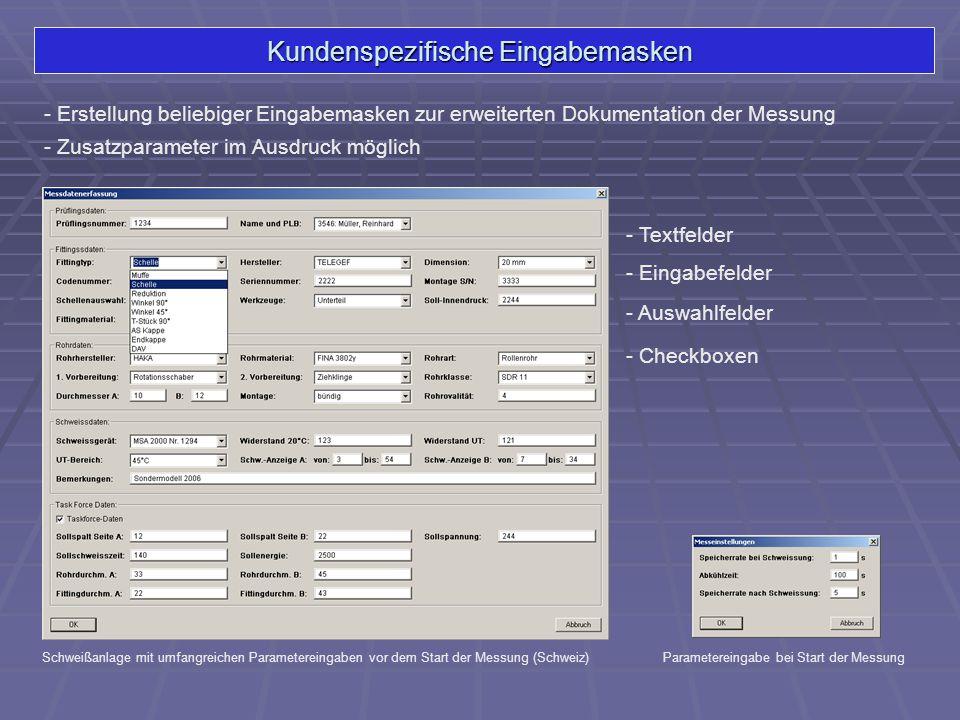 Kundenspezifische Eingabemasken - Textfelder Schweißanlage mit umfangreichen Parametereingaben vor dem Start der Messung (Schweiz) - Auswahlfelder - C