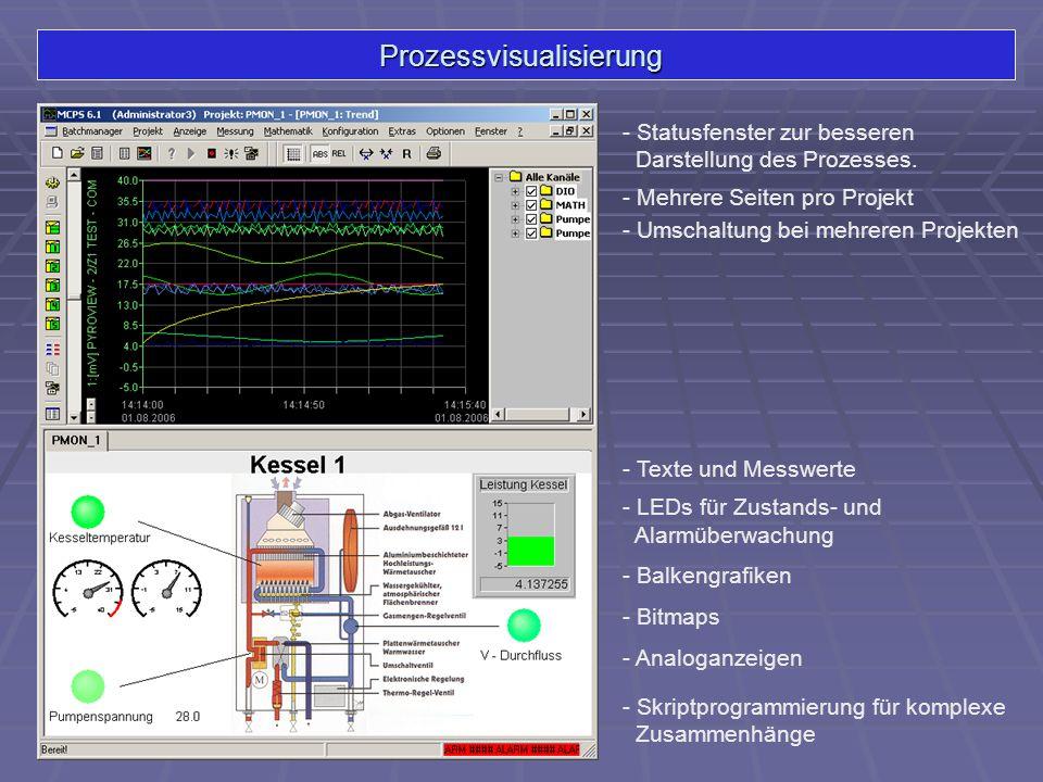 Prozessvisualisierung - Statusfenster zur besseren Darstellung des Prozesses. - Texte und Messwerte - LEDs für Zustands- und Alarmüberwachung - Balken