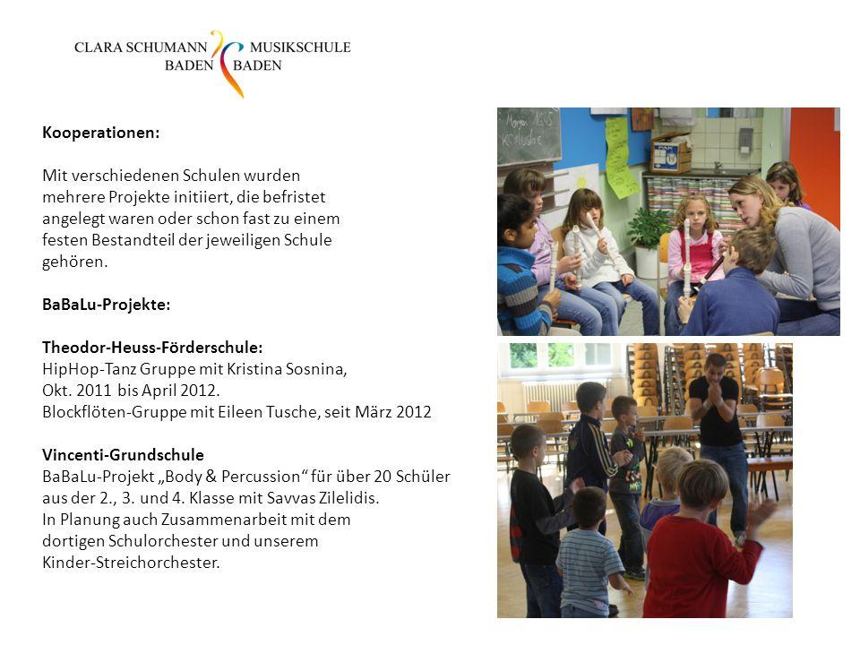 Kooperationen: Mit verschiedenen Schulen wurden mehrere Projekte initiiert, die befristet angelegt waren oder schon fast zu einem festen Bestandteil d