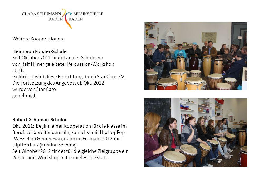Weitere Kooperationen: Heinz von Förster-Schule: Seit Oktober 2011 findet an der Schule ein von Ralf Himer geleiteter Percussion-Workshop statt. Geför