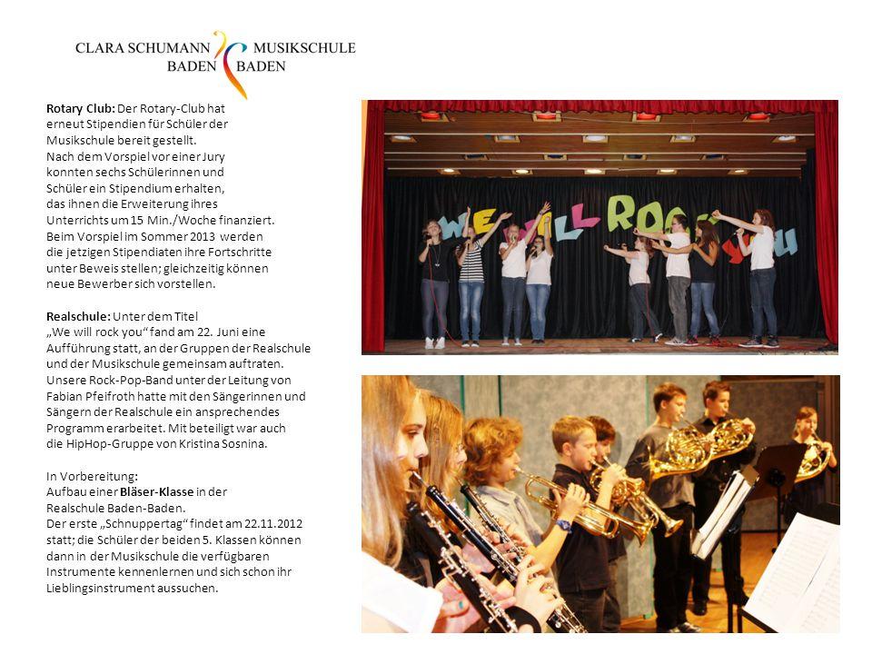 Rotary Club: Der Rotary-Club hat erneut Stipendien für Schüler der Musikschule bereit gestellt. Nach dem Vorspiel vor einer Jury konnten sechs Schüler