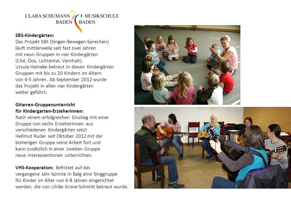SBS-Kindergärten: Das Projekt SBS (Singen-Bewegen-Sprechen) läuft mittlerweile seit fast zwei Jahren mit neun Gruppen in vier Kindergärten (Cité, Oos,