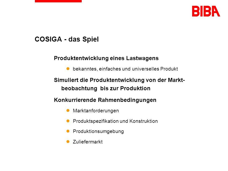 COSIGA Concurrent Engineering Simulation Game ist ein Multimedia-Simulationsspiel bildet ein Produktentwicklungsszenario ab wird von Gruppen bis zu 5 Teilnehmern gespielt verwendet Telekommunikationstechnik erfordert Teamwork