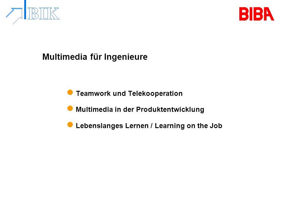 Multimedia für Ingenieure Teamwork und Telekooperation Multimedia in der Produktentwicklung Lebenslanges Lernen / Learning on the Job