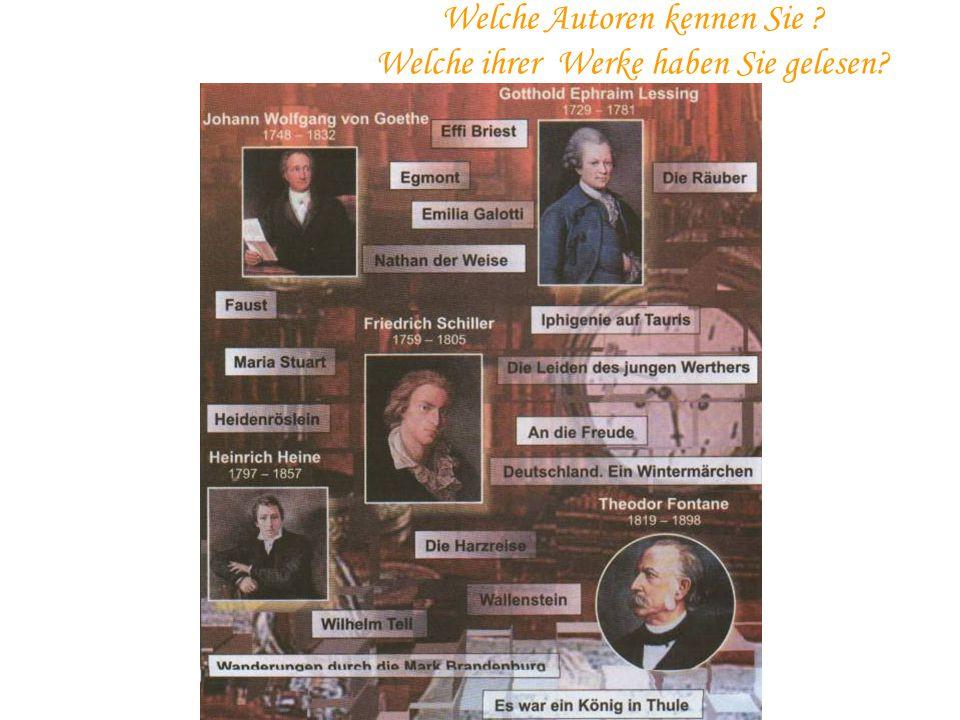 5) Die Fragödie,,Faust'' wurde von Goethe in den Jahren 1808-!831… a)schreiben b)geschrieben c)geschreibt 6) Aus welchem Gedicht sind folgende Strophen:,,Über allen Gipfeln ist Ruh...'' a),,Wanderers Nachtlied'' von Goethe b),,Ein Fichtenbaum'' von H.Heine c),,Das Mädchen aus dem Fremde'' von F.