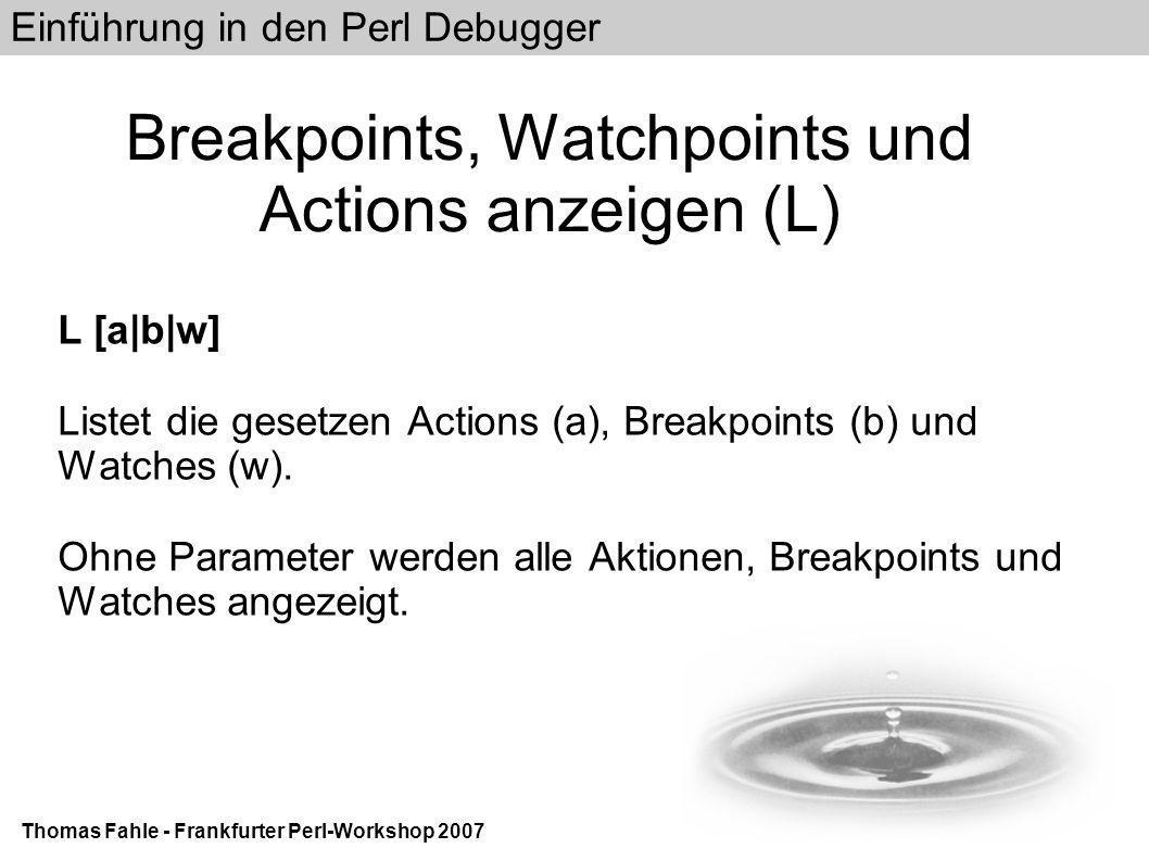 Einführung in den Perl Debugger Thomas Fahle - Frankfurter Perl-Workshop 2007 Breakpoints, Watchpoints und Actions anzeigen (L) L [a|b|w] Listet die