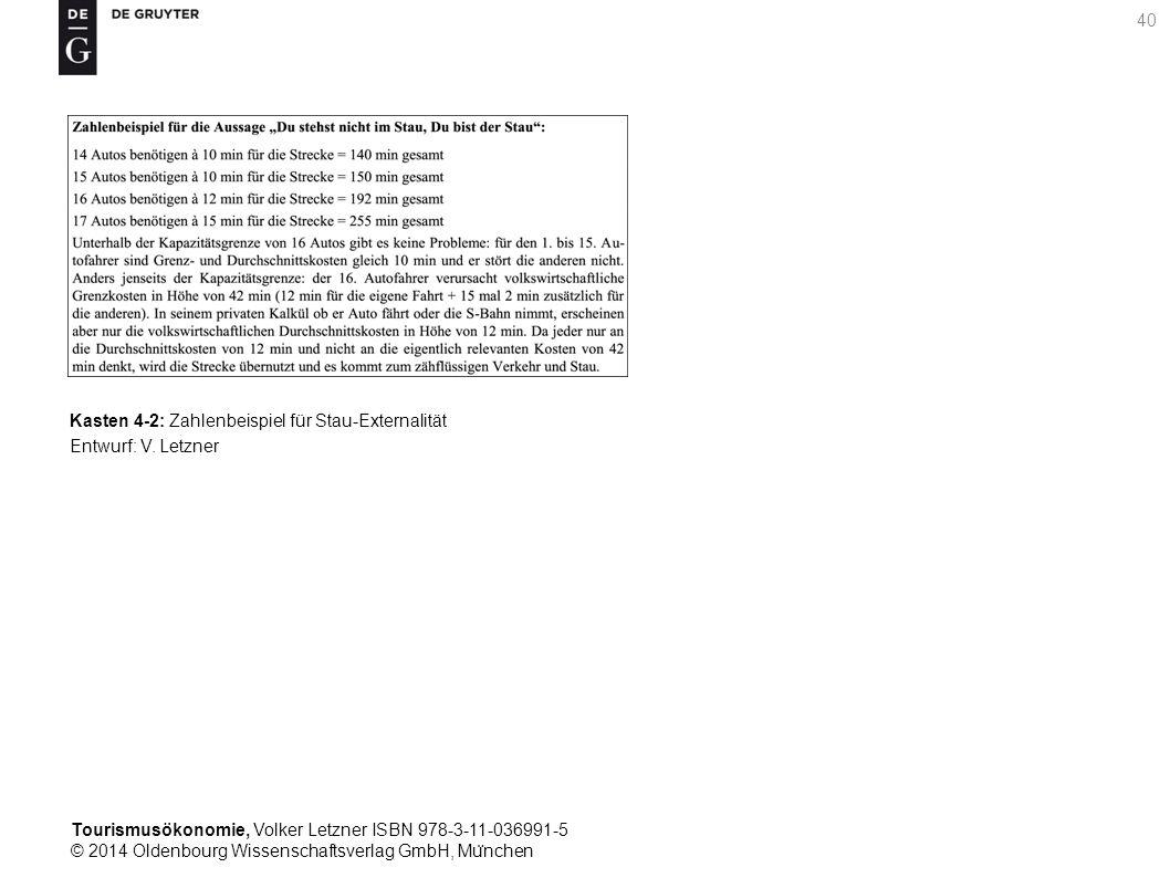 Tourismusökonomie, Volker Letzner ISBN 978-3-11-036991-5 © 2014 Oldenbourg Wissenschaftsverlag GmbH, Mu ̈ nchen 40 Kasten 4-2: Zahlenbeispiel für Stau-Externalität Entwurf: V.
