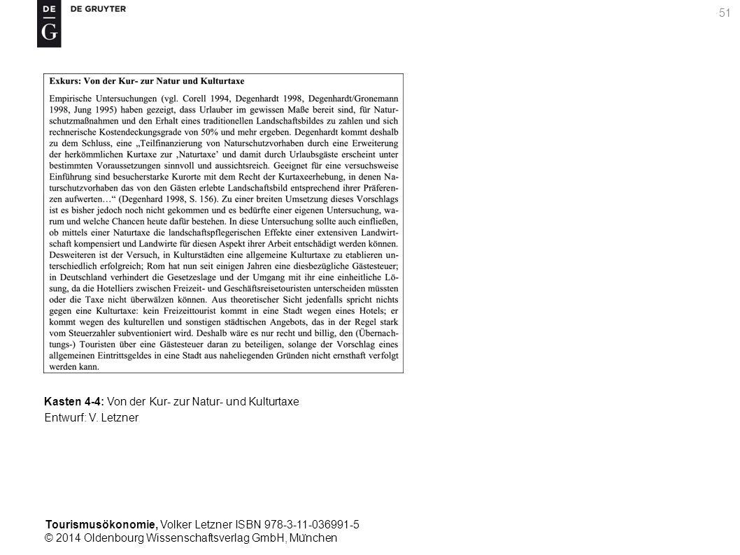 Tourismusökonomie, Volker Letzner ISBN 978-3-11-036991-5 © 2014 Oldenbourg Wissenschaftsverlag GmbH, Mu ̈ nchen 51 Kasten 4-4: Von der Kur- zur Natur- und Kulturtaxe Entwurf: V.