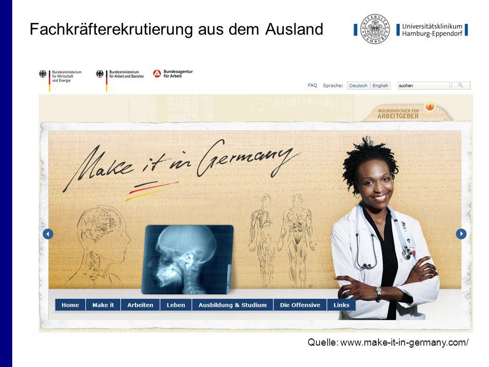 Fachkräfterekrutierung aus dem Ausland Quelle: www.make-it-in-germany.com/