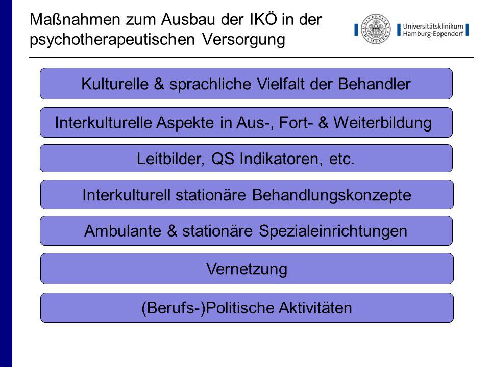 Maßnahmen zum Ausbau der IKÖ in der psychotherapeutischen Versorgung (Berufs-)Politische Aktivitäten Vernetzung Interkulturelle Aspekte in Aus-, Fort- & Weiterbildung Kulturelle & sprachliche Vielfalt der Behandler Leitbilder, QS Indikatoren, etc.