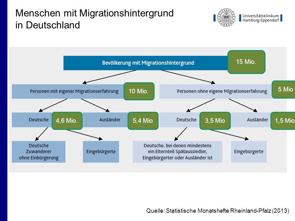 Menschen mit Migrationshintergrund in Deutschland Quelle: Statistische Monatshefte Rheinland-Pfalz (2013) 15 Mio.