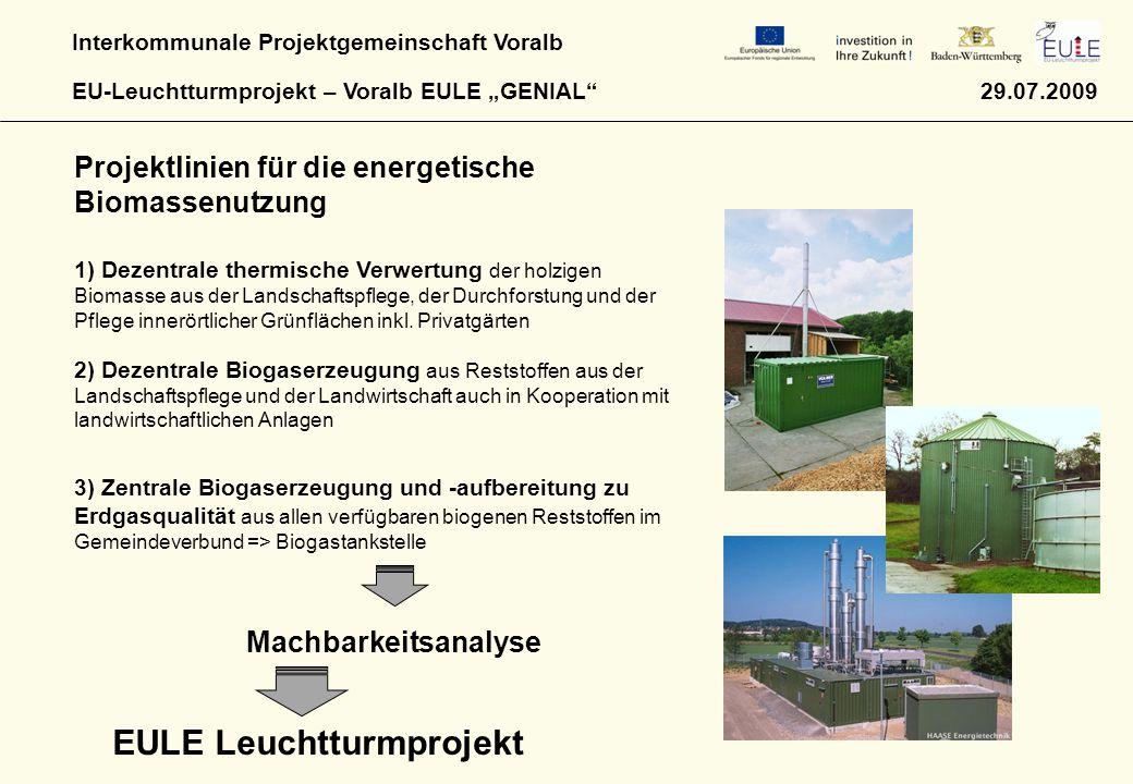 """Interkommunale Projektgemeinschaft Voralb EU-Leuchtturmprojekt – Voralb EULE """"GENIAL"""" 29.07.2009 Projektlinien für die energetische Biomassenutzung 1)"""