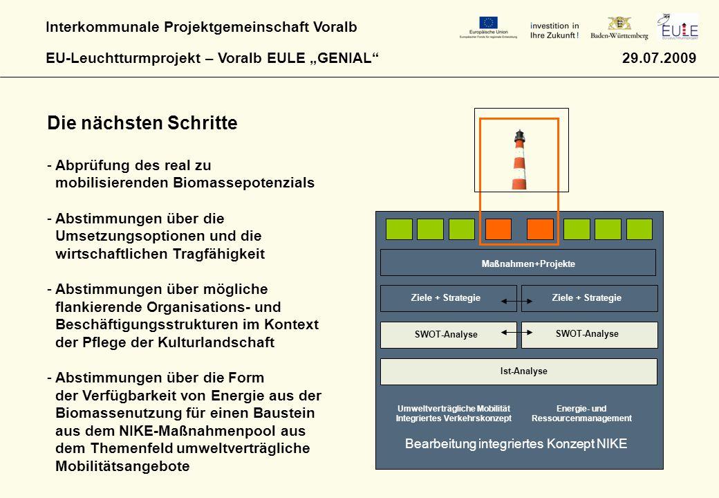 """Interkommunale Projektgemeinschaft Voralb EU-Leuchtturmprojekt – Voralb EULE """"GENIAL"""" 29.07.2009 Bearbeitung integriertes Konzept NIKE Umweltverträgli"""