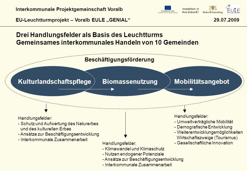 """Interkommunale Projektgemeinschaft Voralb EU-Leuchtturmprojekt – Voralb EULE """"GENIAL"""" 29.07.2009 Drei Handlungsfelder als Basis des Leuchtturms Gemein"""