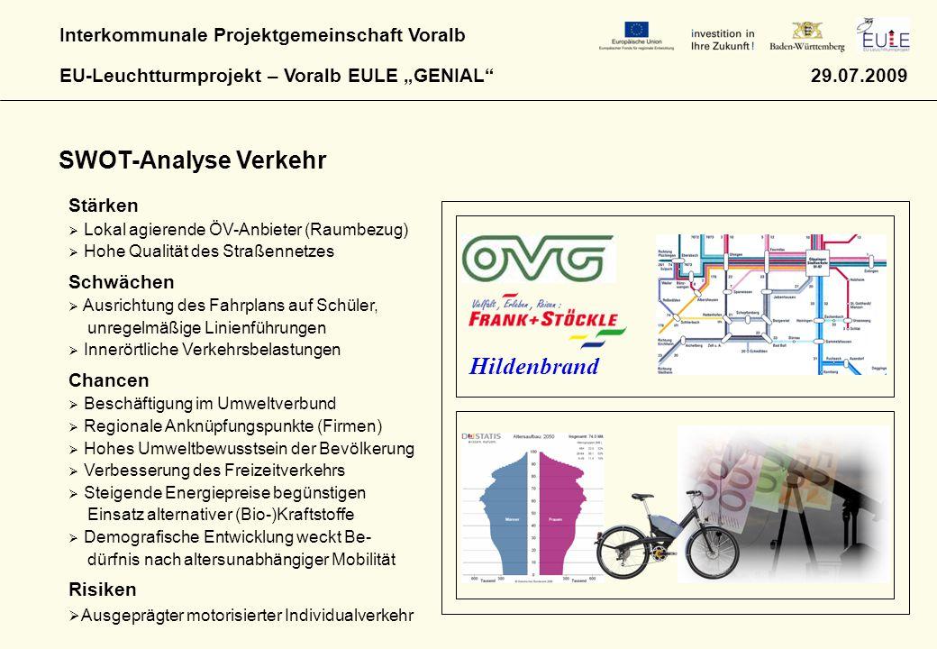 """Interkommunale Projektgemeinschaft Voralb EU-Leuchtturmprojekt – Voralb EULE """"GENIAL"""" 29.07.2009 SWOT-Analyse Verkehr Hildenbrand Stärken  Lokal agie"""