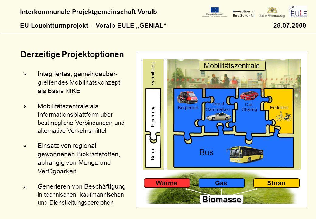 """Interkommunale Projektgemeinschaft Voralb EU-Leuchtturmprojekt – Voralb EULE """"GENIAL"""" 29.07.2009 GasStrom Biomasse Wärme Bürgerbus Anruf- Sammeltaxi C"""