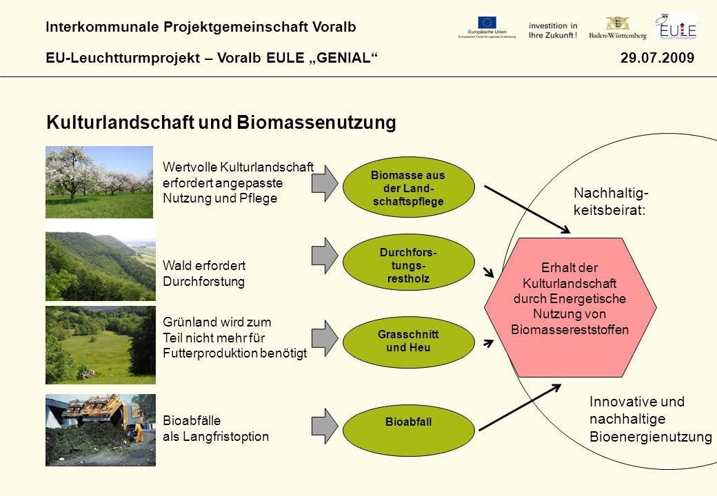 """Interkommunale Projektgemeinschaft Voralb EU-Leuchtturmprojekt – Voralb EULE """"GENIAL 29.07.2009 Kulturlandschaft und Biomassenutzung Wertvolle Kulturlandschaft erfordert angepasste Nutzung und Pflege Wald erfordert Durchforstung Grünland wird zum Teil nicht mehr für Futterproduktion benötigt Bioabfälle als Langfristoption Biomasse aus der Land- schaftspflege Durchfors- tungs- restholz Grasschnitt und Heu Bioabfall Erhalt der Kulturlandschaft durch Energetische Nutzung von Biomassereststoffen Nachhaltig- keitsbeirat: Innovative und nachhaltige Bioenergienutzung"""