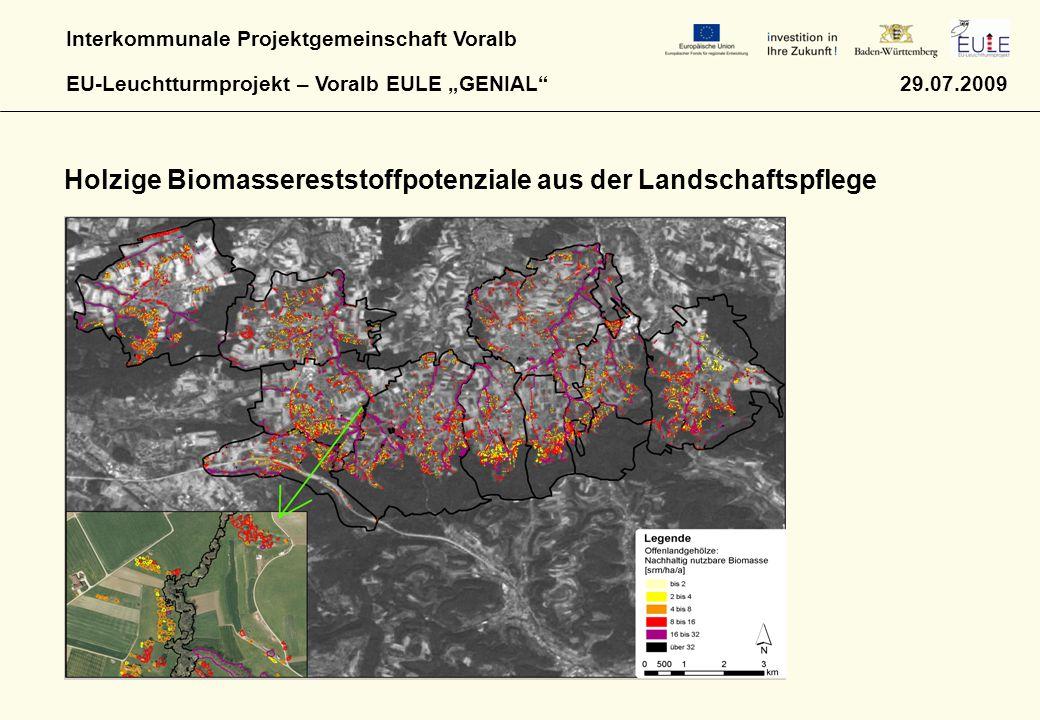 """Interkommunale Projektgemeinschaft Voralb EU-Leuchtturmprojekt – Voralb EULE """"GENIAL"""" 29.07.2009 Holzige Biomassereststoffpotenziale aus der Landschaf"""