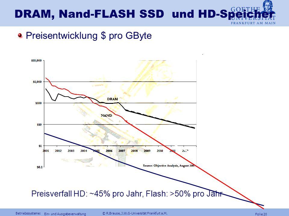 Betriebssysteme: © R.Brause, J.W.G-Universität Frankfurt a.M. Folie 19 Ein- und Ausgabeverwaltung SSD: RAM-Disks Solid State Disk (SSD) = RAM als schn