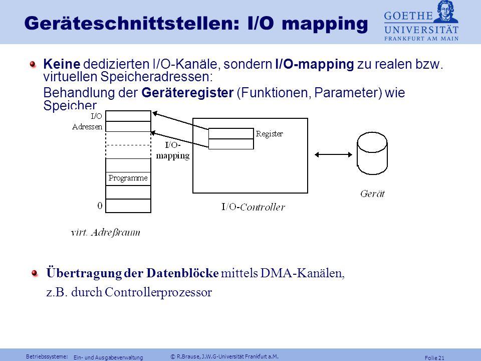 Betriebssysteme: © R.Brause, J.W.G-Universität Frankfurt a.M. Folie 20 Ein- und Ausgabeverwaltung DRAM, Nand-FLASH SSD und HD-Speicher Preisentwicklun