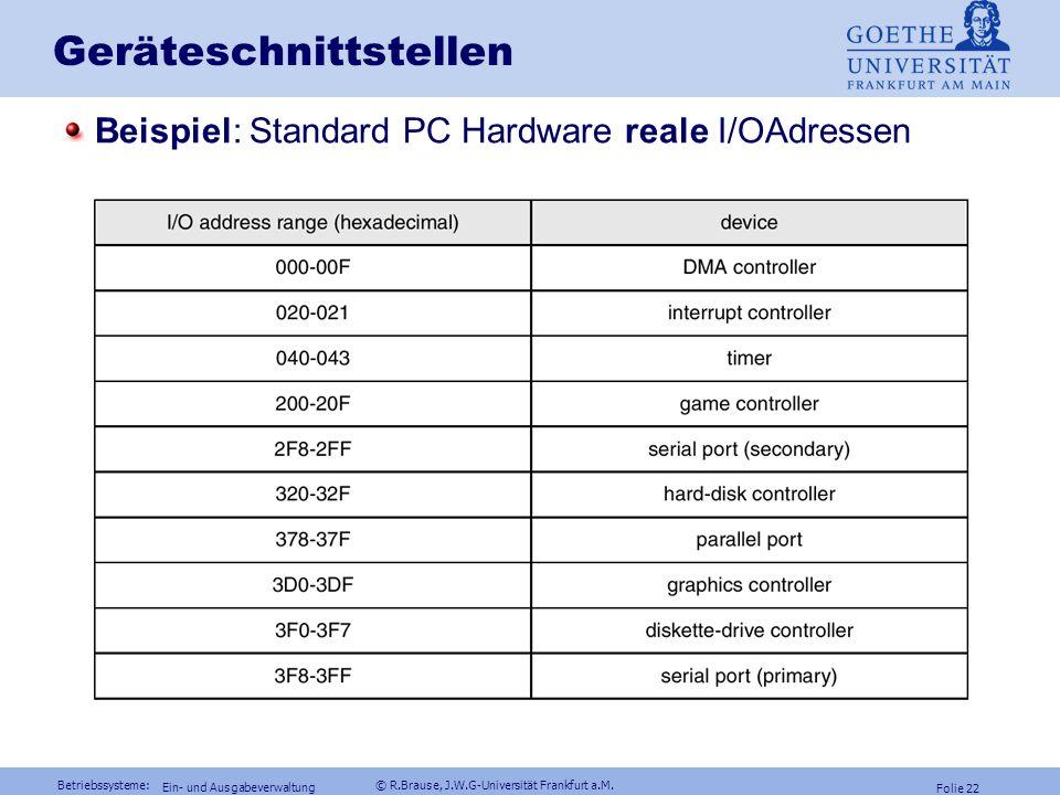 Betriebssysteme: © R.Brause, J.W.G-Universität Frankfurt a.M. Folie 21 Ein- und Ausgabeverwaltung Geräteschnittstellen: I/O mapping Keine dedizierten
