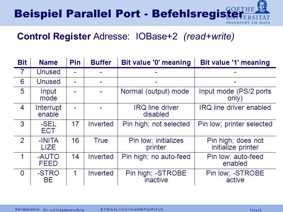 Betriebssysteme: © R.Brause, J.W.G-Universität Frankfurt a.M. Folie 24 Ein- und Ausgabeverwaltung Beispiel Parallel Port - Statusregister Status-Regis