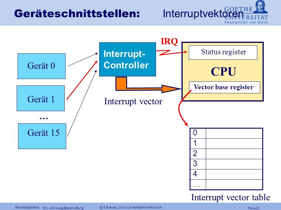 Betriebssysteme: © R.Brause, J.W.G-Universität Frankfurt a.M. Folie 25 Ein- und Ausgabeverwaltung Beispiel Parallel Port - Befehlsregister Control Reg