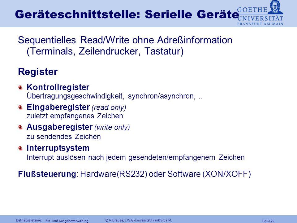 Betriebssysteme: © R.Brause, J.W.G-Universität Frankfurt a.M. Folie 28 Ein- und Ausgabeverwaltung Geräteschnittstelle: FestplattenRegisterarten Befehl
