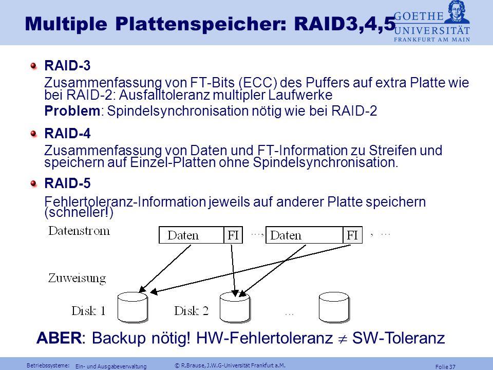 Betriebssysteme: © R.Brause, J.W.G-Universität Frankfurt a.M. Folie 36 Ein- und Ausgabeverwaltung p = b 1  b 2...  b n Ist Laufwerk b 2 defekt, so g