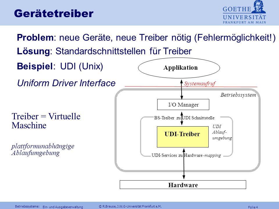 Betriebssysteme: © R.Brause, J.W.G-Universität Frankfurt a.M. Folie 3 Ein- und Ausgabeverwaltung Gerätetreiber Gerätetreiber = Kapselung gerätetypisch